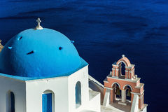 Blue dome and sea, santorini Stock Images
