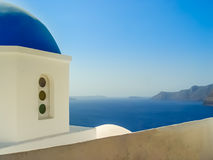 Blue dome of St. Nicholas church in Oia Santorini Stock Photography