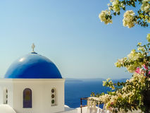 Blue dome of St. Nicholas church in Oia Santorini Royalty Free Stock Photos