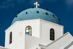 Blue dome and stained glass window on Greek Orthodox church Royalty Free Stock Image