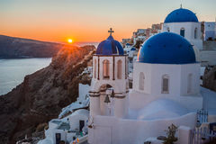 Blue dome of white church in Oia, Santorini, Greece. Image of Blue dome of white church in Oia, Santorini, Greece stock images