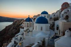 Blue dome of white church in Oia, Santorini, Greece. Image of Blue dome of white church in Oia, Santorini, Greece Stock Image