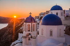 Blue dome of white church in Oia, Santorini, Greece. Image of Blue dome of white church in Oia, Santorini, Greece Royalty Free Stock Photography