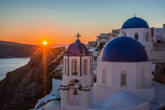 Blue dome of white church in Oia, Santorini, Greece. Image of Blue dome of white church in Oia, Santorini, Greece Royalty Free Stock Image