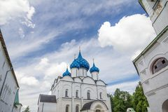 Blue-domed Cathedral in heart of Suzdal Kremlin, Russia. Inside the walls of the Kremlin in the small town of Suzdal, Russia sits the striking Nativity of the Royalty Free Stock Photography
