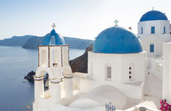Blue domed church in Fira, Santorini, Greece Stock Images