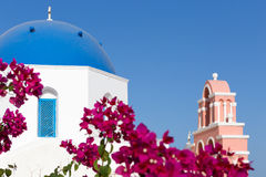 Blue domed church in Fira, Santorini, Greece Royalty Free Stock Photos