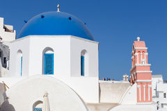 Blue domed church in Fira, Santorini, Greece Stock Photo