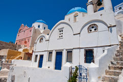 Blue domed church on the island of Santorini also known as Thera, Greece. Stock Image