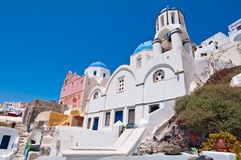 Blue domed church on the island of Santorini, Greece. Stock Photo