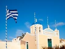 Blue domed church Oia Santorini Greece Royalty Free Stock Photos