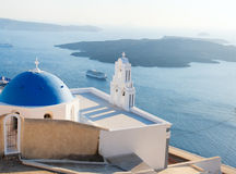 Blue domed church in Santorini Royalty Free Stock Photo