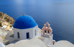 Blue Domed Church in Santorini - Greece Royalty Free Stock Image