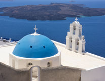 Blue domed church in Santorini, Greece Stock Photos