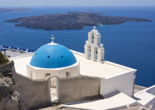 Blue domed church in Santorini, Greece Royalty Free Stock Photo
