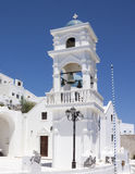 Blue domed church in Santorini, Greece Royalty Free Stock Images