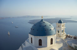 Blue domed church in Santorini Stock Photography