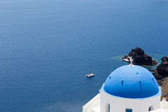 Blue domed churches on the Caldera at Oia on the Greek Island of Stock Image