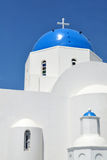 Blue domed churches from Oia on the greek island o Royalty Free Stock Image