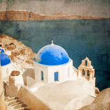 Blue domed churches vintage styled Stock Images
