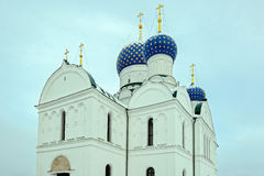 Blue domes of the Epiphany Cathedral in Uglich, Russia Royalty Free Stock Photos