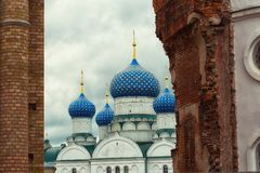 Blue domes of the Epiphany Monastery in Uglich Royalty Free Stock Photos