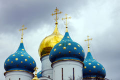 Blue domes with golden stars in Trinity Lavra of St. Sergius Stock Photography