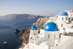 Blue domes in Oia village Stock Photos
