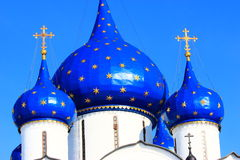 Blue domes on an orthodoxy church Royalty Free Stock Photos