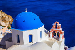 Blue domes of Santorini. Greece Royalty Free Stock Photo