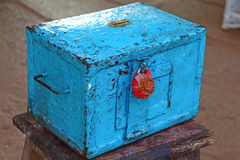 Blue donation box with a red wax seal. Hindu Temple Royalty Free Stock Photography