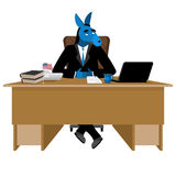 Blue Donkey Democrat sitting in office. Animal boss at table. Sy Royalty Free Stock Photography