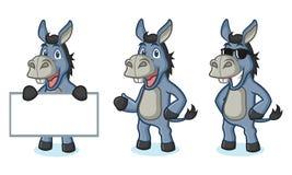 Blue Donkey Mascot happy Stock Photo