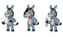 Blue Donkey Mascot with laptop Stock Images