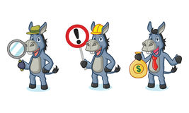 Blue Donkey Mascot with sign Royalty Free Stock Photography