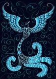 Blue doodle bird on black Royalty Free Stock Image