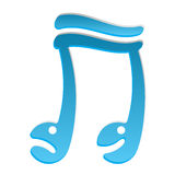blue doodle cartoon music smiley note logo  Royalty Free Stock Images