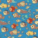 Blue doodle children fish pattern Stock Images