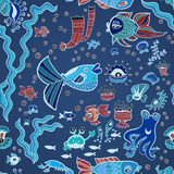 Blue doodle children fish pattern Royalty Free Stock Photo