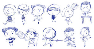 Blue doodle design of people playing with the different sports Stock Image