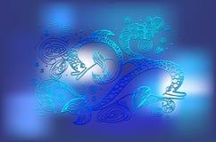 Blue doodle dolphin Royalty Free Stock Photos