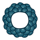 Blue doodle flower frame. Cute simple greeting card. Royalty Free Stock Image