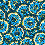 Blue doodle flower pattern.Hand drawn cute seamless background. Royalty Free Stock Images