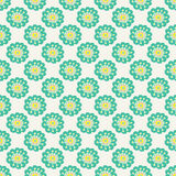 Blue doodle flower simple pattern.Hand drawn cute seamless background. Stock Photo