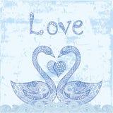 Blue doodle swans pair Stock Images