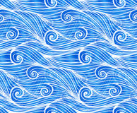 Blue doodle waves vector seamless pattern Royalty Free Stock Image