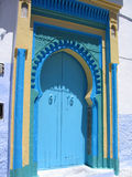 Blue door #2. Stunning blue door in a village of Chefchaouen Royalty Free Stock Photo