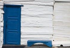 Blue door. In a house in Caleta de Sebo, La Graciosa island, Canary Islands, Spain stock photos