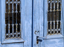 Blue door. Detail of an old weathered door Royalty Free Stock Images
