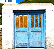 Blue door in antique village santorini greece europe and    whit Stock Image